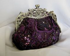 Victorian Beaded Purses Elegant Purses in Vintage and Victorian Styles Beaded Clutches Purses Beaded Evening Bag Clutch Purse Satin Rhineston Clutch Purse Beaded Clutch, Beaded Purses, Beaded Bags, Vintage Purses, Vintage Bags, Vintage Handbags, Vintage Clutch, Vintage Shoes, Purple Love