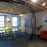 Conference Room with Double Sliding Glass Doors with Angled Entrance