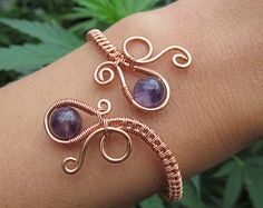 Amethyst Copper Wire Double Loop Spiral Bracelet- Purple Crystal Beaded Wire Wrapped Coil Cuff- Handmade Gemstone Peacock Wedding Jewelry