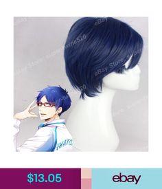 $13.05 - Dark Blue Ryugazaki Rei Cos Wig Men's Short Straight Party Wig Movie Anime Wig #ebay #Fashion Anime Wigs, Cos, Hair Extensions, Dark Blue, Party, Movies, Ebay, Fashion, Weave Hair Extensions