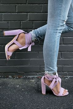 The Mia Faux Suede Lace Up Heel in Heirloom Lilac Tie Up Heels, Wrap Heels, Cute Heels, Lilac Heels, Oxford Shoes Heels, Black Stiletto Heels, Heels Outfits, Wattpad, Prom Shoes