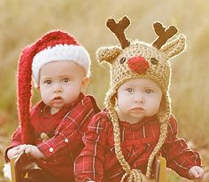 Baby Hat Set  - Baby Hats - Santa Hat and Reindeer Hat - Twin Set - Baby Santa Hat - Baby Reindeer Hat by JojosBootique on Etsy https://www.etsy.com/listing/100595473/baby-hat-set-baby-hats-santa-hat-and
