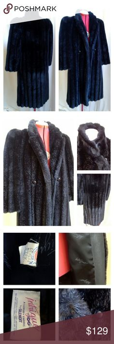 """INTRIGUE by GLENOIT Faux Mink Coat Vintage coat. Fully lined, with a faux leather trim inside the edge (see photo). Notice the pouf to the shoulders. 2 pockets. One button for front closure, and another to close up neck area, as shown in closeup photo. No faults to note...it's in superb condition, and clean inside and out. As is the norm with vintage, this fits small, so please pay attention to provided measurements. Clean by fur coat method. Approx meas laid flat buttoned up: U-U 20""""…"""