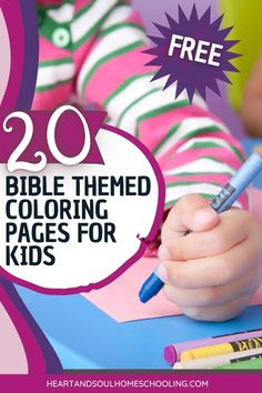 20 Bible Themed Coloring Pages For Kids | Heart and Soul Homeschooling Teaching Kids, Kids Learning, Character Activities, Bible Resources, Understanding The Bible, How To Teach Kids, Bible Study For Kids, Sunday School Lessons, Coloring Pages For Kids