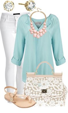 Cute and classy. Love the pink/coral necklace against the mint shirt!