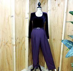8a32a4f6499 80s velvet jumpsuit   vintage royal purple velvet womans jumpsuit   1980s  velvet one piece evening pantsuit   size 7   8