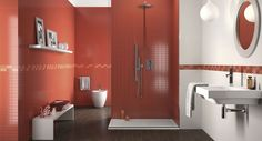 red #tiles wall for this bathroom an #interiordesign idea selected by Instudio for you.