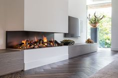 Open haard, Bas Openhaarden, sfeervol, gashaard, haardmeubel, woonkamer, klassieke villa, François Hannes Fireplace Tv Wall, Modern Fireplace, Living Room With Fireplace, Home Living Room, Living Room Designs, Contemporary Fireplace Designs, House, Home Decor, Fashion