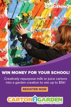 Need funds for your school garden? Your school could win up to $5,000 in the Carton 2 Garden contest! A fun classroom garden project, this contest encourages students to think creatively about sustainability as they design and build innovative garden features and structures using repurposed juice and milk cartons. 2020 deadline: December 1! Class Projects, Garden Projects, School Gardens, Milk Cartons, Win Money, Garden Features, Sustainability, Repurposed, Juice