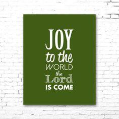 JOY To The WORLD Christmas Carol Artwork | Printable Lyrics | DIY | Green