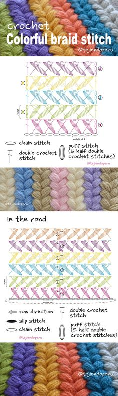 Colorful cable or braided crochet stitch