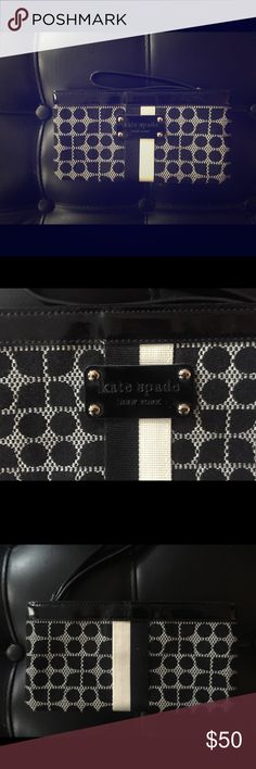 "Black & white Kate Spade wristlet Black & white Kate Spade wristlet. great condition ! 8.5"" length X 4.5"" height. kate spade Bags Clutches & Wristlets"