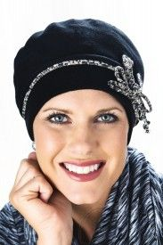 cotton bow beret beanie cap for cancer patients in black cute headcovers.com