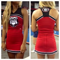 The Georgia Bulldogs are ready to their sidelines this season in their brand new Varsity uniforms! Aren't they fabulous? Call your local Varsity rep today to see and FEEL the Powerfit difference! Varsity Cheer Uniforms, Dance Team Uniforms, College Cheerleading, Cheerleading Uniforms, Cheerleading Company, Redskins Cheerleaders, Cheer Athletics, Cheerleading Bows, Cheer Coaches