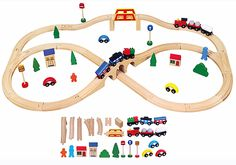 Shop for Viga Wooden Train Set 49 Piece. Starting from Compare live & historic toys and game prices. Making Wooden Toys, Handmade Wooden Toys, Wooden Diy, Toys For Tots, Toys For Girls, Wooden Toy Train, Traditional Toys, Thomas The Train, Train Layouts