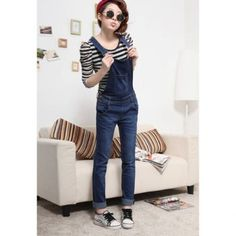 Popular Blue Denim Pants Jeans Women's Overalls, BLUE, S in Denim & Jeans | DressLily.com