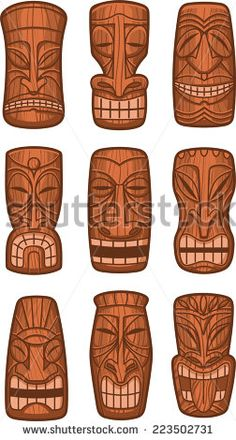 Hawaiian tiki god statue carved polynesian wood vector illustration.