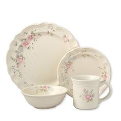 Pfaltzgraff Tea Rose 32 Piece Dinnerware Set, Service for 8
