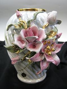 Capodimonte Vase Hand Painted Floral Gold Pink Roses Lilly