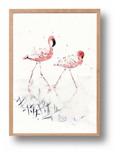 Flamingos watercolor, original painting, flamingo painting, birds art, natural life watercolor, coral salmon pink, home decor, wild life art by TheJoyofColor on Etsy https://www.etsy.com/listing/234773517/flamingos-watercolor-original-painting