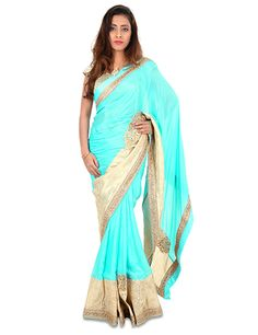 G3 Exclusive marble chiffon blue sari to hypnotize and be centre of attraction at every parties. Product code - G3-WSA9480 #saree
