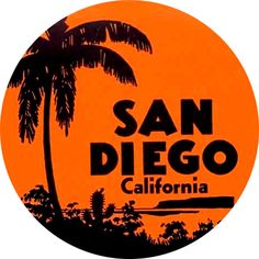San Diego California Vintage Travel Decal Round by hilda74