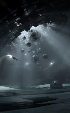 Space Fantasy, Dark Fantasy Art, Sci Fi Fantasy, Sci Fi Horror, Horror Art, Sci Fi Wallpaper, Sci Fi Environment, Futuristic City, Alien Worlds