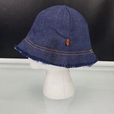 27300738fc7 Vintage LEVIS Orange Tab Denim Jean Bucket Hat Raw Hem Sz M 1970s VTG  LEVIS