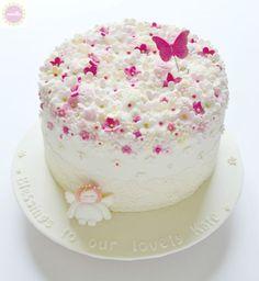 Blossoms & Angel Christening Cake