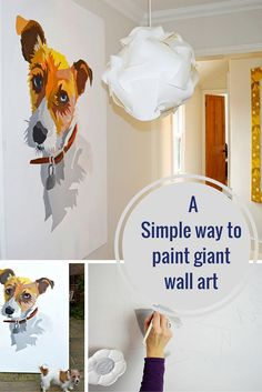 A great tutorial to show you how easy it is to paint your own giant wall art.  Its like painting by numbers.  you could do a portrait of your pet or a loved one.