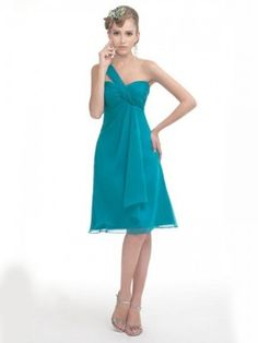 A-line One Shoulder Sleeveless Knee-length Chiffon Green Dress, FREE shipping now!