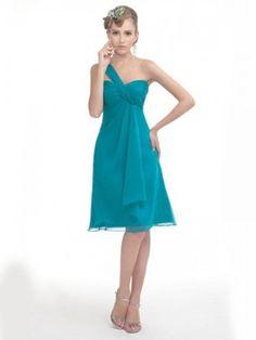 A-line One Shoulder Sleeveless Knee-length Chiffon Green Dress, FREE shipping now!