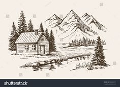 Find Hand Drawn Vector Illustration Mountain Landscape stock images in HD and millions of other royalty-free stock photos, illustrations and vectors in the Shutterstock collection. Thousands of new, high-quality pictures added every day. Landscape Pencil Drawings, Landscape Sketch, Pencil Art Drawings, Landscape Paintings, Simple Landscape Drawing, Mountain Sketch, Mountain Drawing, Cool Art Drawings, Art Drawings Sketches