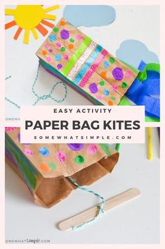 Paper bag kites are a fun activity to make when your kids are home! They're made with a small brown paper bag and a few simple supplies, they're easy to put together and so much fun to make! Paper Bag Crafts, Paper Crafts For Kids, Craft Activities For Kids, Projects For Kids, Diy For Kids, Kids Fun, Crafts For Babies, Simple Crafts For Kids, At Home Crafts For Kids