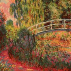 "Cross Stitch Pattern - Monet ""Japanese Bridge at Giverny"" - PDF Instant Download! by PenumbraCharts on Etsy"