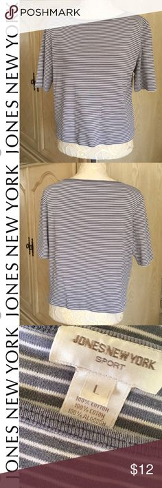 """Buy 1 item, get another item FREE of lesser value! Jones New York Sport Stripe T-shirt in Gray & White. Boat Neck Half Sleeve. Shorter... Quality - Thicker Cotton. Size L    Pit to pit 21"""" Length 21"""" Pic of top example of style, not exact,  Sort my closet with your size by using the Funnel Icon. Jones New York Tops Tees - Short Sleeve"""
