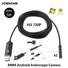 JCWHCAM HD 2MP 6 LED 8mm Len 1M 5M Android USB Endoscope IP67 Waterproof Inspection Borescope Tube Camera OTG Android Phone 720P Review Toyota Cruiser, Exposure Lights, Focal Distance, Take Video, Waterproof Camera, Samsung Galaxy S4, Garden Hose, Tube, Lens