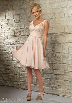 Bridesmaids Dresses by Affairs Lace Bodice with Chiffon Skirt over Nude Lining Available in All Mori Lee Bridesmaids Solid Lace Colors or, Solid Lace over Nude Lining (as shown).