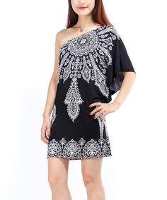 Black & White Asymmetrical Cape-Sleeve Dress | zulily $15