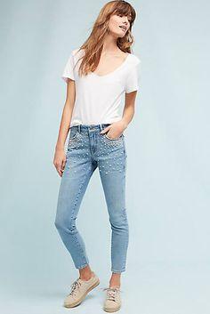 Pilcro Script High-Rise Pearl Skinny Jeans