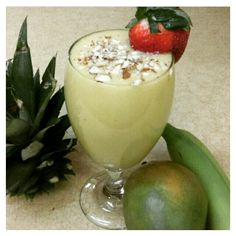 I finally got my mango & banana smoothie!!! So delicious.  Ingredients:  1 frozen banana 1 mango Directions: Place nangoes, banana in a blender. Blend on high for 30 seconds. Add in the cup water blend until smooth. Pour smoothie into glass and serve.