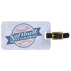Customize Your Own #Softball Grandpa Luggage Tag. To see more baggage tags with sports designs, check out my store at: http://www.zazzle.com/gamefacegear*/ and you can find them in the 'Customizable Luggage Tags' category.