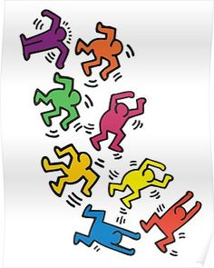This Keith Haring dancer wall decal offers a splash of color to any room. Buy this decal set or browse our stock of Keith Haring wall art for sale here! Keith Haring Kids, Keith Haring Poster, Keith Haring Prints, Bedroom Wall Collage, Photo Wall Collage, Picture Wall, Wall Art Collages, Arte Indie, Indie Art