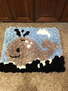 Soft grey whale swimming in a dark blue ocean with white fluffy cloud Triple knotted ties and sealed for skip proof on floors. Pom Pom Crafts, Yarn Crafts, Diy And Crafts, Arts And Crafts, Paper Crafts, Diy Craft Journal, Pom Pom Animals, Pom Pom Rug, Sewing Art