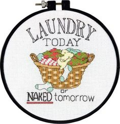 Laundry; counted cross stitch: