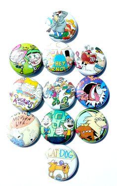 90s Nickelodeon Cartoon Button Set