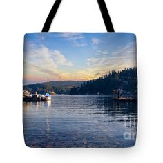 """Tote Bag #Paradise #Bay #Sunrise C2 #Photography #Lake #Dock #Pier by #Ricardos #Creations #RicardosCreations. (18"""" x 18"""").  The tote bag is machine washable, available in three different sizes, and includes a black strap for easy carrying on your shoulder.  All totes are available for worldwide shipping and include a money-back guarantee. #ToteBag #Tote #Bag"""