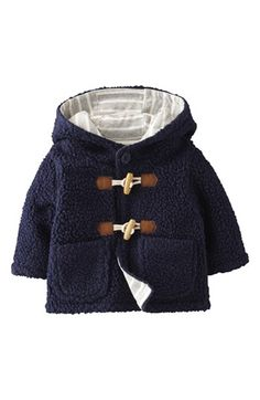 Mini Boden Fleece Duffle Jacket (Baby Boys) | Nordstrom