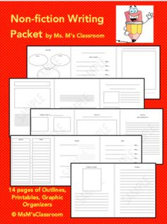 This packet contains a selection of 14 templates that can be used for NF writing in grades 2-4. Included are: Cover page, pages with spaces for illustrations and writing, a fun facts page, a Q&A page, parts of______ , how to______ , index, glossary, and all about the author.All products  Ms.