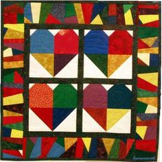 Free pattern for Scrappy Hearts mini quilt or wall hanging.